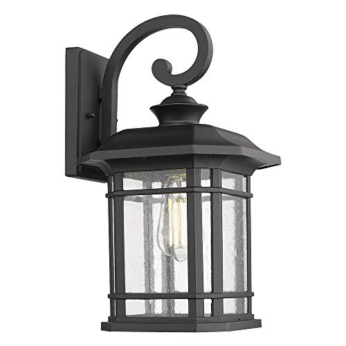 Emliviar Outdoor Wall Lights for House, 1-Light Exterior Wall Sconce Black Finish with Clear Seeded Glass, 17 Height, 22021M