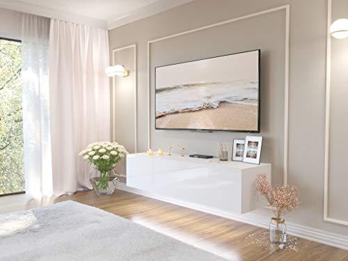 TOP SHOP Eine Lange Tür Hochglanzweiß FERNSEHTISCH TV-Bänk Lowboard TV Hängeboard Hochglanz Board Schrank Tisch 100 150 200 cm (150CM)