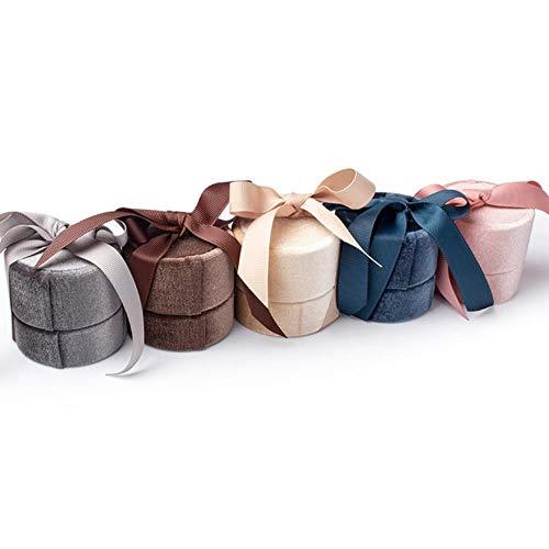Mstr Boîte ronde en velours avec ruban en cuir synthétique, gris, pendant necklace