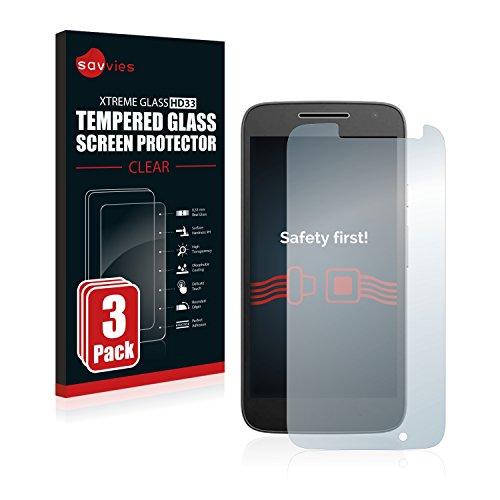savvies Protector Cristal Templado Compatible con Lenovo/Motorola Moto G4 Play (3 Unidades)...