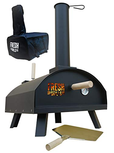 Fresh Grills Outdoor Pizza Oven – Portable Wood Fired BBQ Pizza Maker with Thermometer, Raincover and Accessories