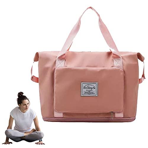 Qosneoun Large Capacity Folding Travel Bag, Portable Foldable TravelLightweight Waterproof Oxford Fabric Bag,...