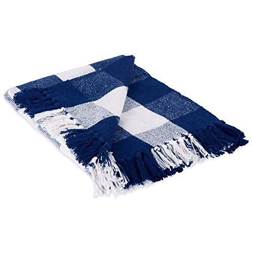 DII 100% Cotton Buffalo Check Throw for Indoor/Outdoor Use Camping Bbq's Beaches Everyday Blanket, 50 x 60, Navy and Off-White