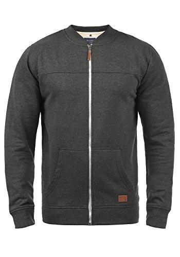 Blend Arco Herren Sweatjacke Collegejacke Cardigan Jacke mit Kurzem Stehkragen, Größe:XXL, Farbe:Charcoal (70818)