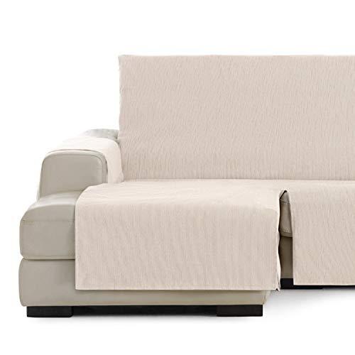 Vipalia Cubre Sofa chaiselongue Ajustable. Funda para Sofa Chaise Longue Brazo Izquierdo Corto. Protector Antimanchas. Color Marfil. Chaise Corto Izquierda