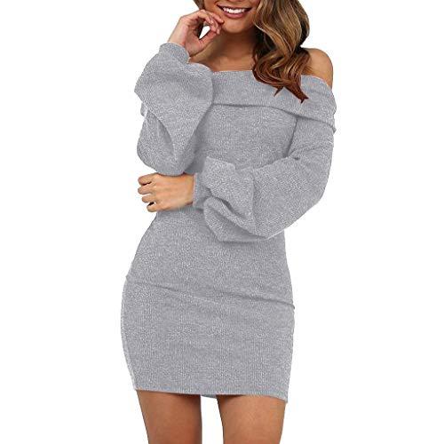 Elecenty Damen Langarmkleid Schulterfrei Partykleid Bodycon Minikleid Mantel Solide Rock Mädchen Kleider Frauen Mode Kleid Kleidung (M, Grau)
