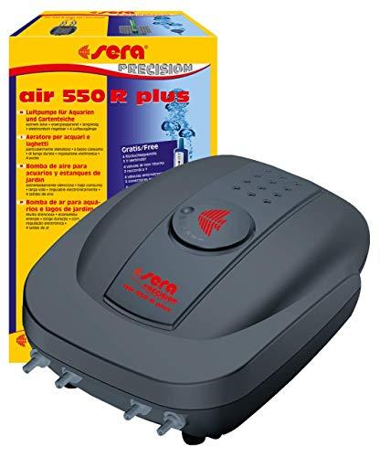 sera 08816 air 550 R plus - Luftpumpe für Aquarien 550 l/h bei 8 Watt - extrem leise, energiesparend, langlebig, elektronisch regelbar, 4 Luftausgänge