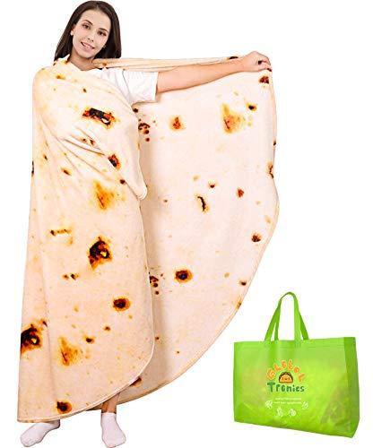 Tortilla Decke Burrito Blanket 150cm Doppelseitig, Riesen R&e Neuheit Taco Wohndecke Weiche Warme Flanell Kuscheldecken Realistisches Essensmuster Kreative Geschenke für Kinder Familie