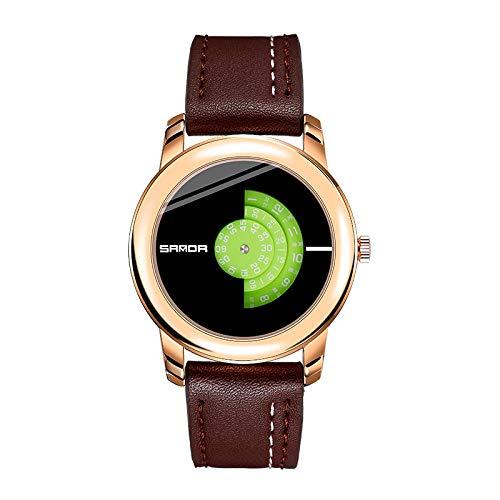 SANDA Relojes Hombre,Reloj de Cuarzo de los Hombres Casuales Impermeables de la Moda Simple de Moda del Estudiante Masculino del Reloj-Café con Verde Oro Rosa