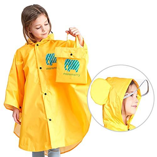 JTENG Poncho Impermeable para bebé, Poncho para Lluvia con Gorro Ancho para bebé con Rayas Reflectantes, Impermeable Reutilizable para bebé (Amarillo, para niños de 1 a 5 años)