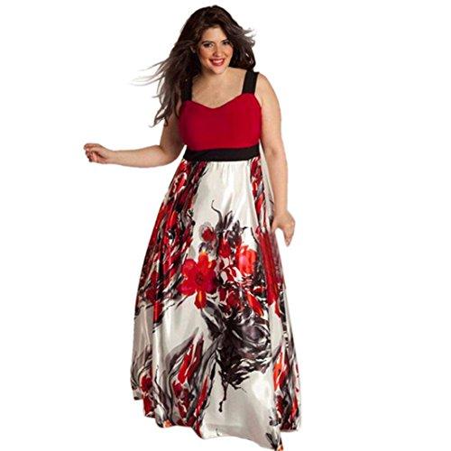 Yesmile Vestido de Mujer Falda Blanco Ropa Vestido Elegante de Noche para Boda Fista Vestido Largo del Baile de la Dama de Honor Sin Respaldo del Cordón de Las Mujeres (Rojo b, XXXL)