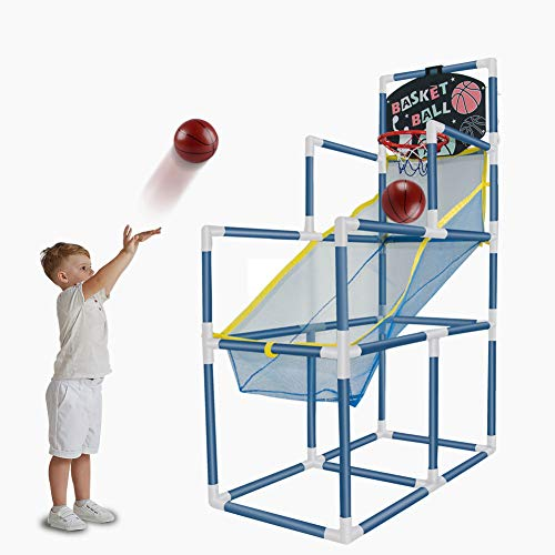 ALINILA 4 Balls Portable Basketball Hoop Indoor with Basketball Net Goal for Kids, Height 55in Outdoor Basketball Goal Toy with Ball Pump for 2-3 Year Old Boy Girl Birthday and Christmas…