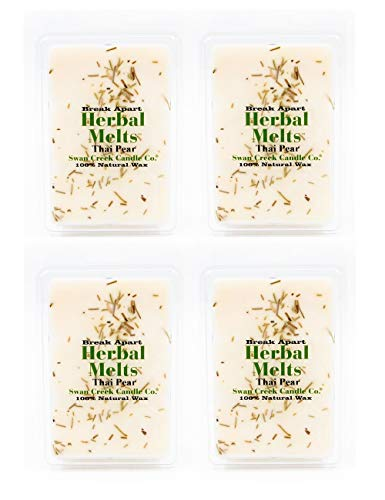 Swan Creek Thai Pear 5.25oz Drizzle Melts 4-Pack | Soy Wax Melts Herbal Fragrance for The Home | Earthy Scented Break Apart Soybean Wax | Made in The USA