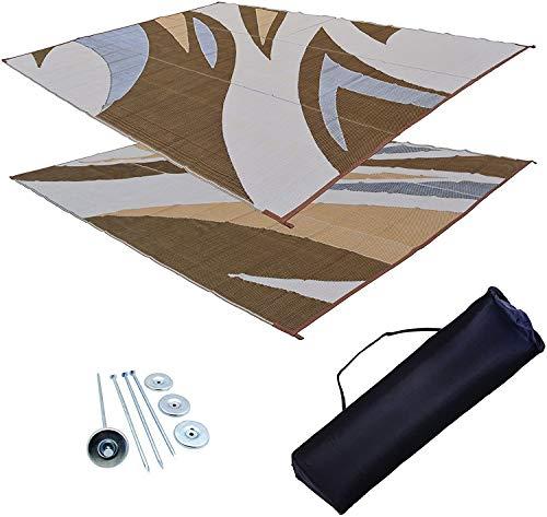 RV Patio toldo Mat Mat Remolque Rv alfombra marrón Kit 9x 18