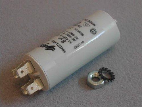 Kondensator: 8MFD: Universal 8331.1321Kondensator passend für AEG MF, Bendix, Bosch, Candy, Crosslee, Cylinda, Electrolux, Gorenje, Hoover, Ignis, Philips, Thorn, TRICITY BENDIX, Whirlpool, Zanussi, Cannon, White Knight 8uF 8MFD Kondensator
