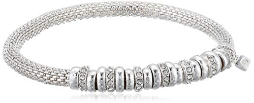 NINE WEST Women's Boxed Bracelet Rondel Stretch, Silver/Crystals