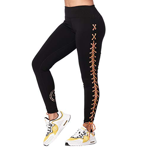 Zumba Fitness Soft Fitness Wide Waistband Workout Compression Print Leggings For Women Legging, Mujer, Bold Black 1, XL
