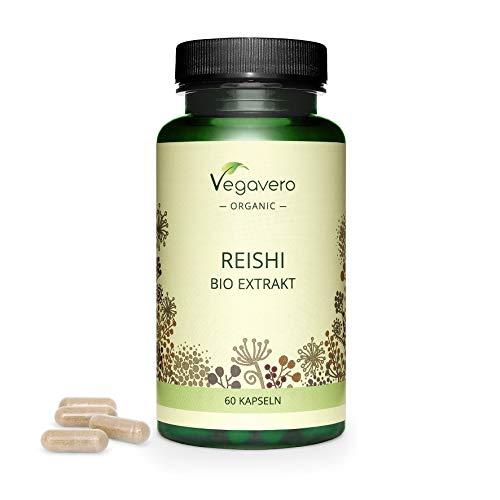 BIO Reishi Vegavero® | Extracto 10:1 = 7000 mg | 40% Polisacáridos + 20% Betaglucanos | Sin Aditivos | Estrés + Ansiedad + Sistema Inmunitario | Ayurveda | Ganoderma Lucidum