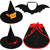Sintege 4 Pieces Cat Halloween Cloak Set Pet Vampire Cloak Apparel Pet Bat Wings Witch Hat with Bell Dressing up Party Cosplay Costume for Dogs Cats Puppy Kitten