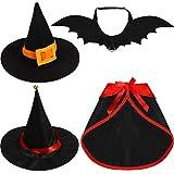 Sintege 4 Pieces Cat Halloween Cloak Set Pet Vampire Cloak Apparel Pet Bat Wings Witch Hat with Bell Dressing...