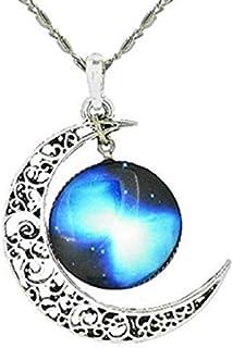 Legisdream Colgantes del Collar Tallado de la Luna y Galaxy con la Medalla de Plata de la joyería Ideas de Regalos para Ca...