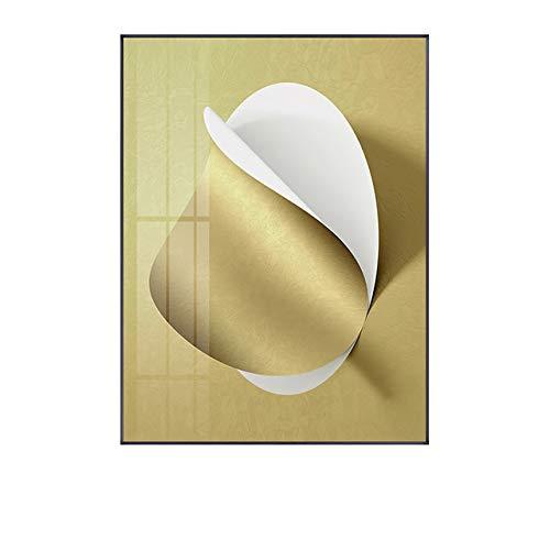 LiMengQi Abstrakte geometrische Kunst Schwarz-Weiß-Origami-Goldfolie Leinwand-Kunst-Gemälde für Wohnzimmer-Plakate und Drucke Wandplakat-Dekor (kein Rahmen)