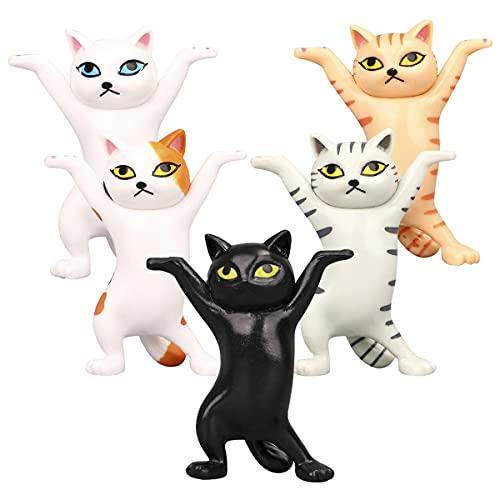 Lindas Figuras de Gatos Baile, Regerly5PCS Ataúd del Gato Portalápices Soporte para Teléfono Móvil Modelo Adornos PVC Modelo de Recogida de Juguetes