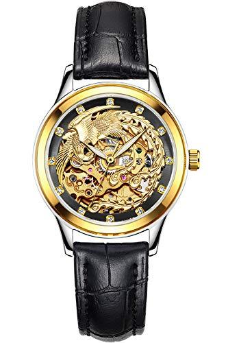 Damen Uhr Automatikuhr Skelett Phoenix Design Luxus Mechanisch für Frauen Brown Schwarz Blau Leder Armbanduhr