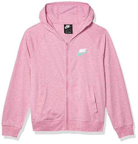 Nike Girl's Sportswear Cotton Jersey Full-Zip Hoodie, Magic Flamingo/Heather, X-Large