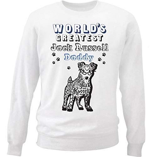 teesquare1st Men's Jack Russell - Daddy b White Sweatshirt Size Medium