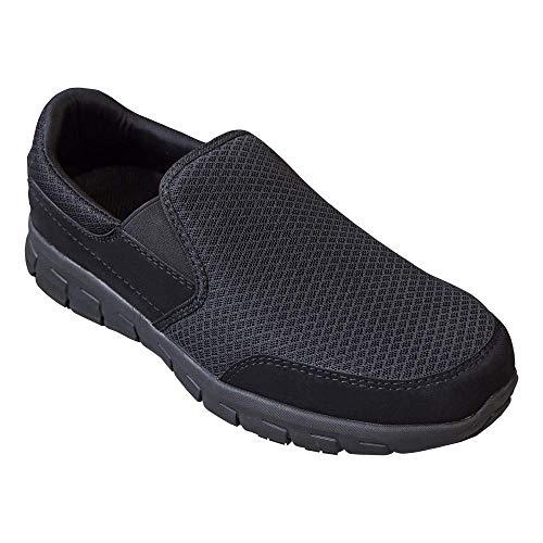 EVER BOOTS 'Traveler Men's Slip Resistant Lightweight Flexible Work Shoe Slip On (13 D(M), Black)