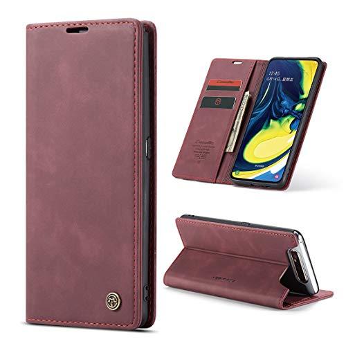 yanzi Hülle Samsung Galaxy A80 Handyhülle Flip Hülle Schutzhülle Samsung Galaxy A80 Premium Leder Tasche Rotwein Wallet Lederhülle Bumper Silikon Samsung A80 Cover Hülle