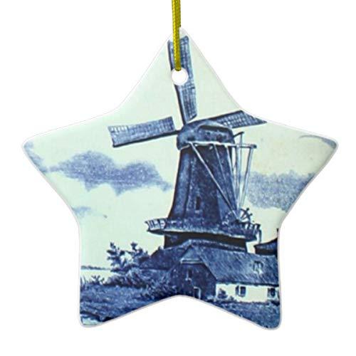 Vintage antieke Delfts blauwe tegel molen keramisch ornament