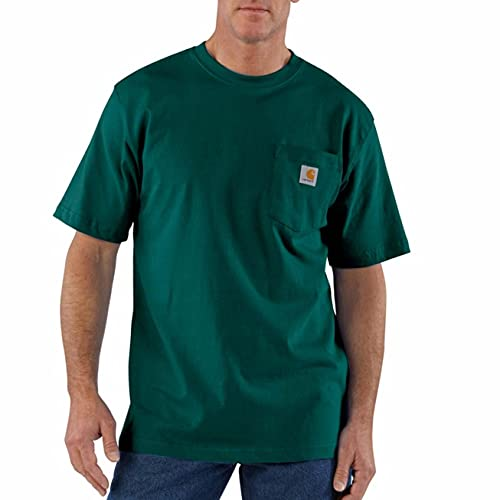 Carhartt Men's K87 Workwear Short Sleeve T-Shirt (Regular and Big & Tall Sizes), Hunter Green, Large