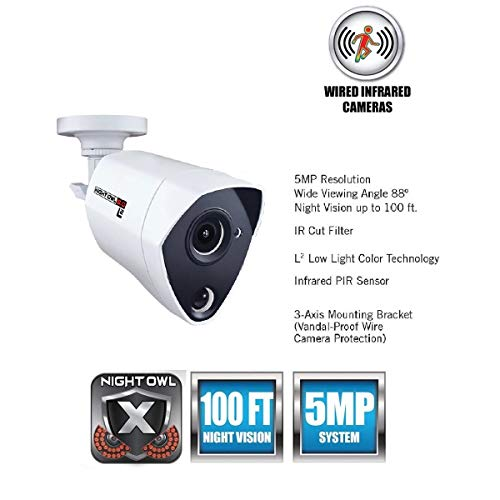 Night Owl Security 1 Pack Extreme HD 5MP Dual Sensor Wired Infrared Camera (White, Replacement Camera Only, No Charger, No Cable)