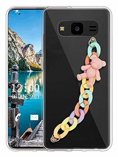 Sunrive Funda Compatible con Samsung Galaxy J7 Nxt, Colgante movil con Cuerda Lindo Silicona Slim Gel Transparente Carcasa Case Bumper Impactos Anti-Arañazos Espalda Cover(L Oso 1)