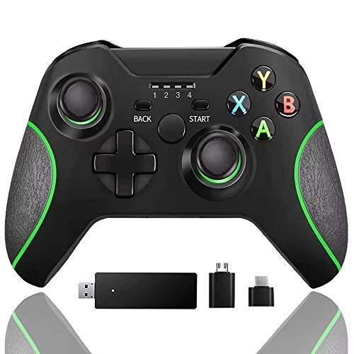 Wireless Controller for Xbox one, Built-in Dual Vibration 2.4HZ Gamepad Compatible with Xbox One/One S/One X/One Elite/ PS3/ Windows 10(Black)