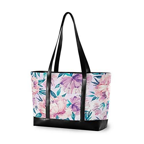 Watercolour Floral Soft Colours 14 15 15.4 15.6 inch Laptop Tote Bag for Women Large Lightweight and waterproof Computer Handbags Laptop Shoulder Messenger Bag