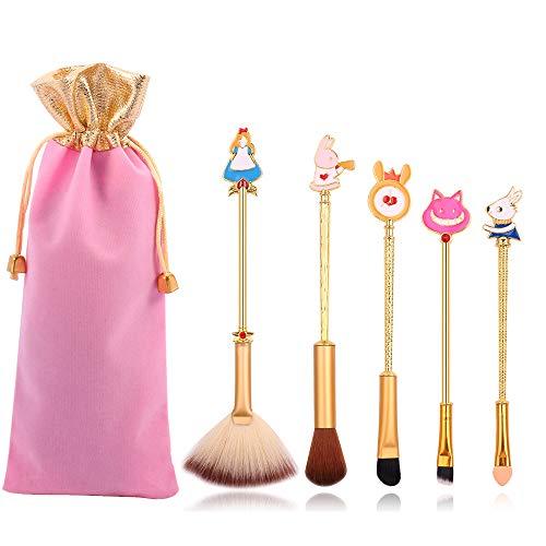Anime Alice in Wonderland Makeup Brushes Set Foundation Blending Powder Eyeshadow Contour Concealer Blush Cosmetic Fairy Makeup Brush Tools (Gold Color - C)