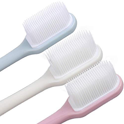 onebarleycorn - Hundezahnbürste, weiches Silikon, sanfte Zahnbürsten mit gebogenem langem Griff, für kleine und mittelgroße Hunde und Katzen