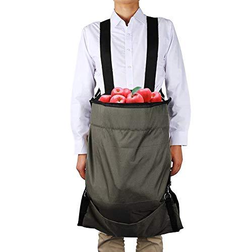 Okngr Sac de ramassage de fruits, tissu Oxford, imperméable, sac de rangement pour récolter des fruits, légumes, 49 x 86 cm, vert, Tissu Oxford, gris, 49 x 86cm/19.3 x 33.9inches