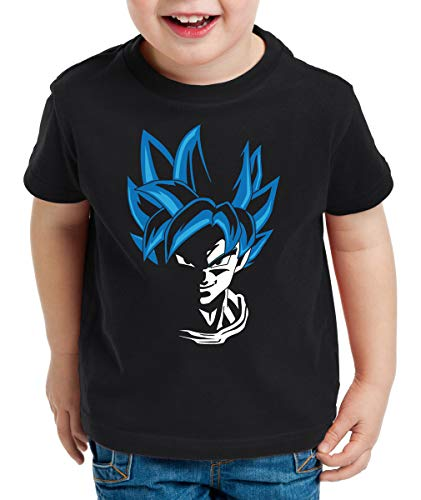 style3 Super Goku Blue God Modo Camiseta para Niños T-Shirt, Talla:152