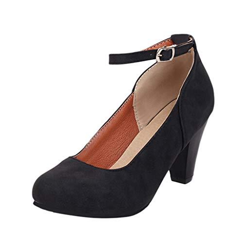 Luckycat Mujer Mary Jane Cerrado Punta Zapatos Tacón Alto Bloque Boda Hebilla Satén Zapatos Novia Boda Modernos Zapatos de tacón de Aguja con Plataforma