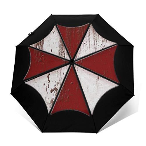 Umbrella Corp Bloody Logo Resident Evil Paraguas Compacto de Apertura y Cierre automático, Plegable, Paraguas de Viaje