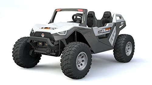 RIDEONCAR XXL Kids Ride On Truck Car UTV Buggy w/Parent Remote Control, Spring Suspension, LED Lights, TV Adjustable SEAT AC Fan 9MPH White Color