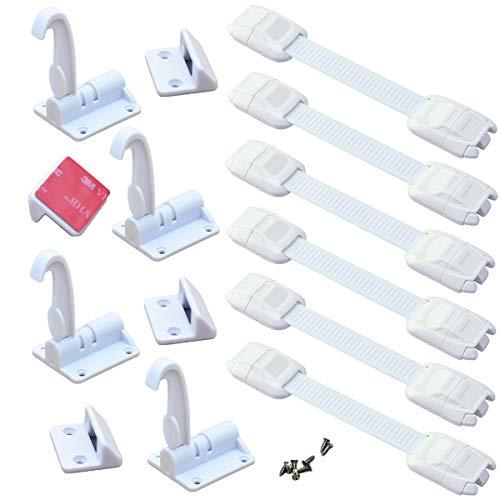 Cerraduras de Seguridad Para Niños,Xiuyer 6 Piezas Bebés Seguridad Cierres y 4 Piezas Invisibles Cerraduras de Resorte para Bloqueo Cajones Puertas Armarios Refrigerador(Blanco, sin Perforación)