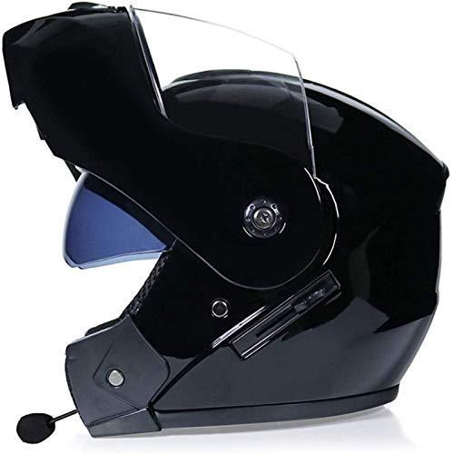 ZLYJ Casco De Motocicleta Modular con Bluetooth, Sin Ruido, con Respuesta Automática, Certificación FM/ECE, Casco Unisex O,S
