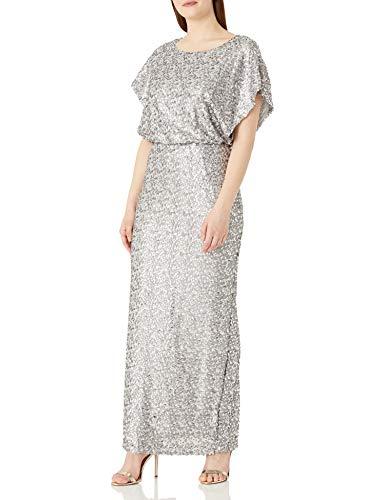 Alex Evenings Women's Long Dress with Flutter Sleeves, Silver Blouson, 10 (Apparel)