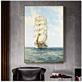 Moderno paisaje marino Pop Art Lienzo impresiones barco vela en las olas pinturas de pared barcos cuadros cuadros para sala decoración No marco