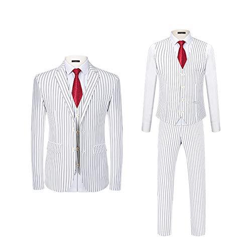 Anzüge Herren 3-teiliger Anzug Anzugjacke Anzughose Weste Slim Fit lässig Herrenanzug Streifen für Business Hochzeit Verhandlung Weißer Streifen 4XL